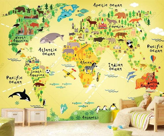 Explorer World Map Wall Mural Children Map with Animals