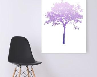 WATERCOLOR- Purple Acacia Tree -Digital Wall Art
