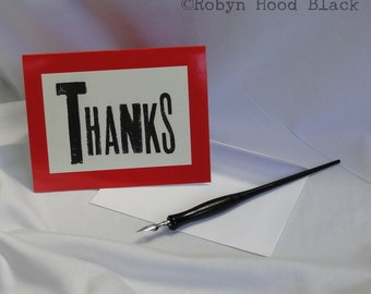 Thanks Note Cards - Letterpress Inspired Blank Thank You Cards package of 8