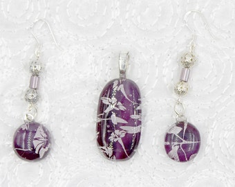 Purple Trumpet Flowers Fused Dichroic Glass Pendant and Earrings