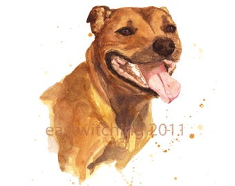 WATERCOLOR STAFFORDSHIRE DOG Print, Staffy, dog lover gift