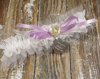 White Beach Wedding Garter, Personalized Lace & Tulle Bridal Garter with Seashells, a Custom Color Bow and Engraving