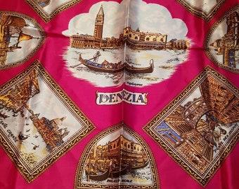 Beautiful 1950s Italian headscarf, souvenir of Venice.