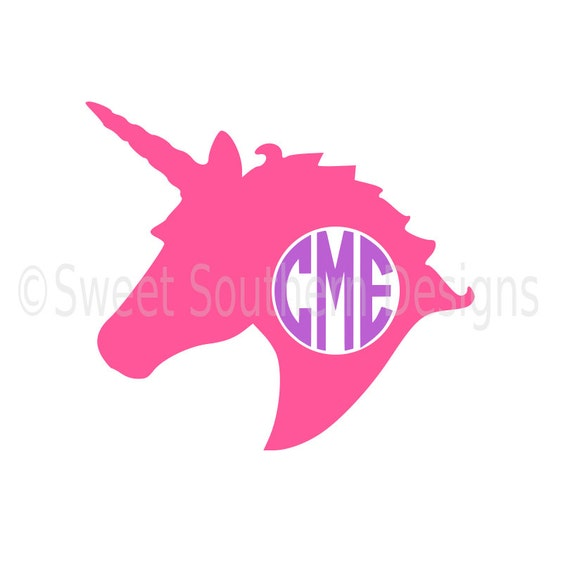 unicorn head monogram svg instant download design for cricut