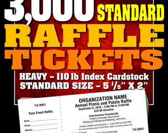 3,000 Standard Raffle Tickets, Customised, Perforated and Numbered