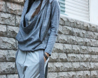 Grey Blouse/Grey Casual Top/Long Sleeves Top/Womens Tops/Loose Blouse/Grey Tunic/ Party Top/Asymmetrical Top/ Extravagant Stylish Top/R00042
