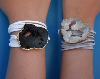 geode druzy wrap bracelet