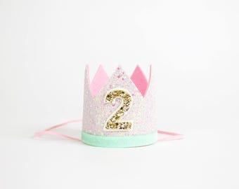 2nd Birthday Crown of Glitter | 2nd Birthday Outfit Girl | Second Birthday Outfit Girl | Birthday Hat | Birthday Crown Girl | Pink MInt Gold