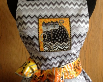 Twirly Single Tiered Woman's Apron in a Black and Grey Chevron Pattern with an Applique Fabulous Felines by Laurel Burch