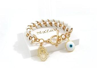 Evil Eye Bracelet, Hamsa Bracelet, Charm Bracelet, Friendship Bracelet, Evil Eye Jewelry, Hamsa Jewelry, Turkish Jewelry, Greek Jewelry