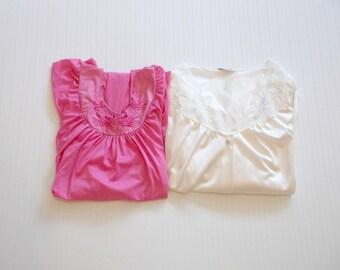 Vintage Pink Ivory Nylon Nightgown Robe Set 2pc szL