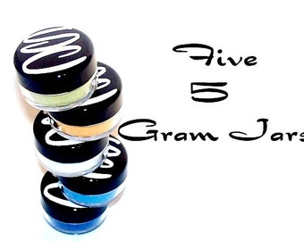 Mineral Eyeshadow  5 Gram sifter Jars in 5 Colors of Your Choice