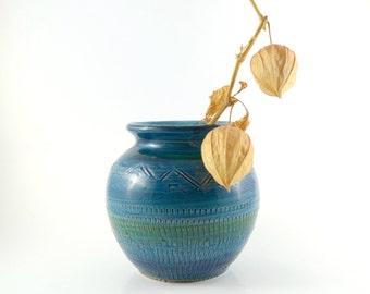 15% OFF Small Bitossi Vase Imitation, Bitossi Lookalike Vase, Italian Ceramics Rimini Blue Glaze, Bitossi Style Pottery, Handcrafted Vase