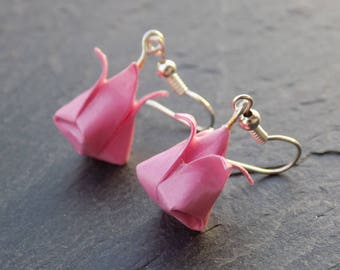 Tulip earrings pink origami