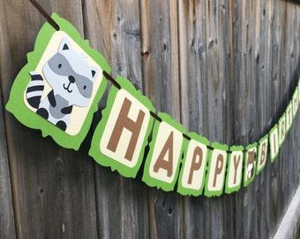 Woodland Critters Happy Birthday Banner | Woodland Banner | Forest Friends Birthday Banner | Woodland Animals Party Decor | Birthday Banner