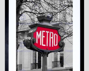 Photo Landmark Composition Retro Metro Sign Paris France Poster Print FEBMP10840