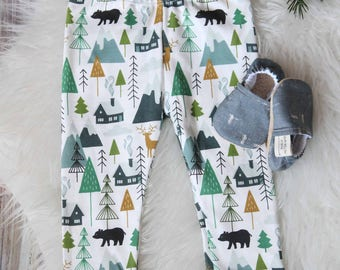 Mountain Leggings, organic baby leggings, organic baby clothes, toddler boy leggings, baby boy leggings, Baby Pants, baby boy pants