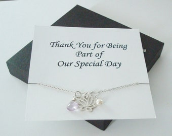 Lotus Charm with White Pearl & Pink Amethyst Silver Necklace ~~Personalized Card for Bridal Party, Friend, Sister, Mother, Mother of Groom