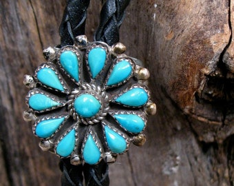 Vintage BOLO ZUNI Native American Bolo Tie TURQUOISE Cluster Sterling Silver by Zuni artist Phyllis Coonsis