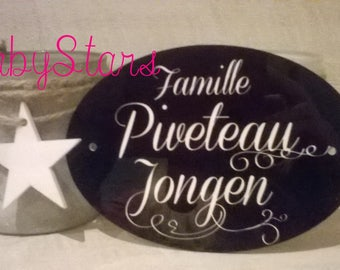 "Plate holder/box-the writing ""Family"" name/address personalized home"