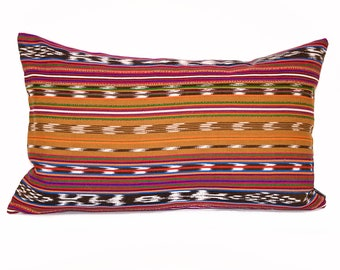 Guatemalan stripe pillow cover - Dark Gold Red Boho pillow - Red Gold striped pillow - Mexican, Mayan, Ethnic, Tribal pillow - Ikat pillow