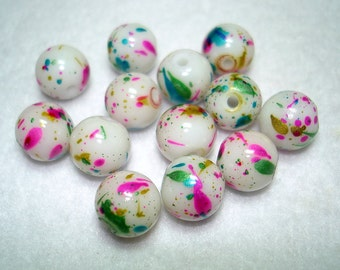 Confettii White Glass Round Beads (Qty 12) - B2932
