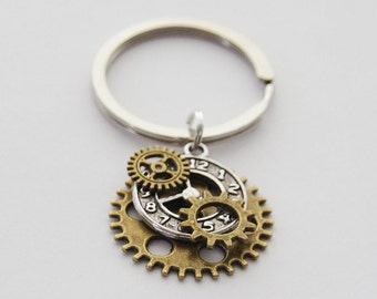 Geeky Gifts, Steampunk Keychain, Clock Keychain, Gears Keychain, Steampunk Gears, Steampunk Jewelry, Gifts for Guys, Steampunk Cosplay