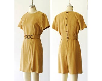 vintage rayon and linen romper / size small