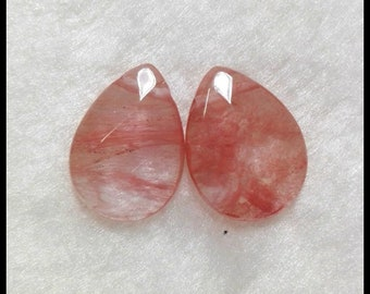 Gemstone Earrings- Faceted Volcano Cherry Quartz Of Gemstone Earrings-18*15*6MM