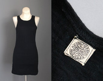 1920s RARE Antique Spalding Black Wool Bathing Suit / 20s Ladies Womens Great Gatsby Flapper Skirt with Shorts / XS Extra Small