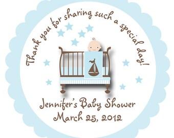 Baby Shower Sticker -- Baby boy personalized sticker --  favor tag, address label, custom sticker, personalized stickers