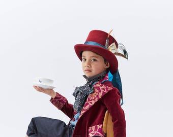 Mad Hatter Top Hat   Maroon Top Hat   Kids Steampunk Hat   Alice in Wonderland   Tea Party