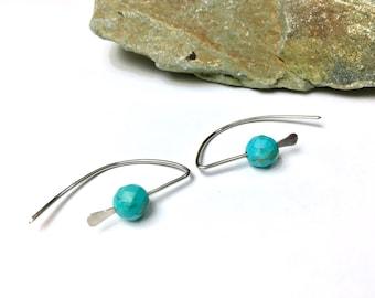 Minimalist 925 Silver Hoop Earrings, Turquoise Howlite Small Hammered Earrings Daughter Gift Mom Gift Womens Gift Girlfriend Gift Girl Gift