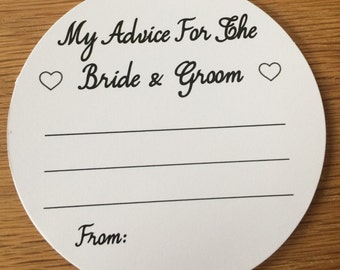 Wedding Advice Coasters Bride and Groom Advice on White Card KP021 BL/WT