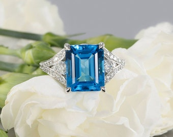 Topaz ring Emerald ring Blue topaz ring engagement ring Gemstone ring Promise ring Diamond ring Birthstone ring White gold ring Wedding ring
