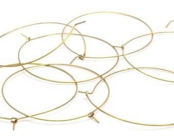 Brass Earring Wires, 25 Raw Brass Earring Wires  (50x0.70mm) Bs 1229