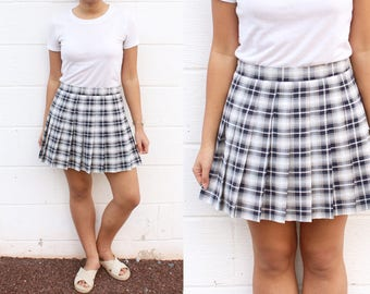 Plaid Texture Schoolgirl Pleated Skirt