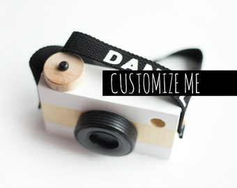 Custom WOODEN PLAY CAMERA, shelf decor,  photo prop,  imagination play, wooden toys