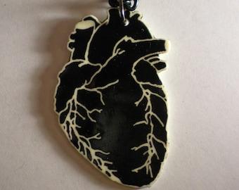 Black human Heart Necklace
