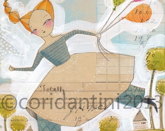 watercolor painting of a girl with balloons  - 8 x 10 - archival and limited edition print by cori dantini