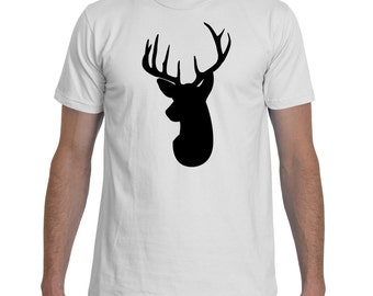 Deer Head Silhouette Black White TShirt Men
