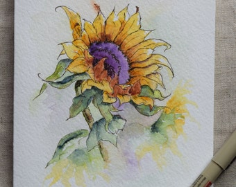 Sunflower Watercolor Painted Card - Prints only