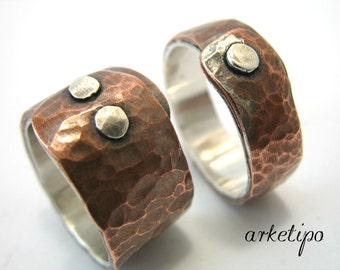 Couples Ring - Wedding Bands - Sterling Silver and Copper - Hammered - Handmade - Hand Stamped