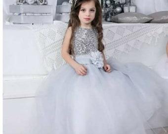 Flower girl dress. White, ivory, or grey.