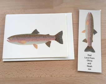 Rainbow Trout Gift, Bookmark and Card, Personalised, Birthday Gift, Gift for Him, Booklover Gift, Bookworm Gift, Fishing Gift, Trout, Fish