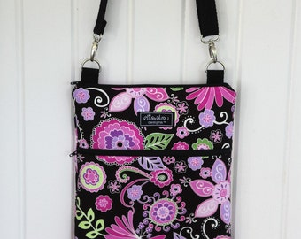Apple iPad Sling Bag- Padded Travel Bag- Padded ipad bag- Kindle DX- Boho Blossoms