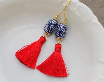 Chinoiserie Earrings - Tassel Earrings - Red Tassel Earrings - Tassle Earrings - Long Tassel Earrings -  Statement Earrings - Boho Earrings