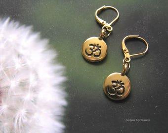 Om earrings, meditation, yoga, gold plated gift idea 10, GBT338