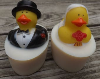 Bride and Groom Rubber Ducky Goat Milk Soap Gift Set