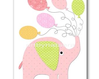 Elephant Nursery Art for Children Printable Digital Print Baby Girl Nursery Print Digital Download Print 8x10 11X14 INSTANT DOWNLOAD rose